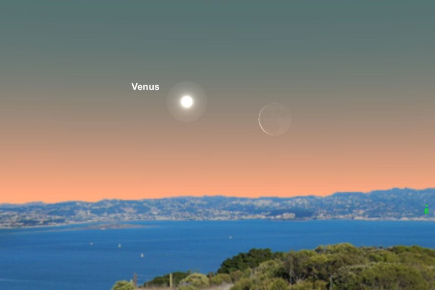Venus will be close to the crescent moon on the morning of June 1.