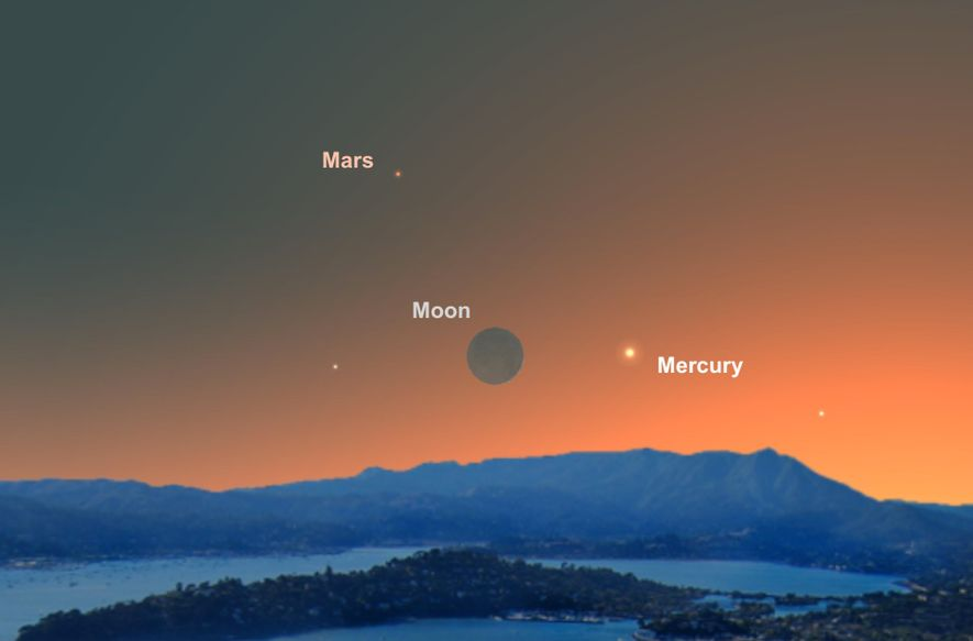 On June 4, the slim crescent moon will act as a guide to spotting tiny Mercury.