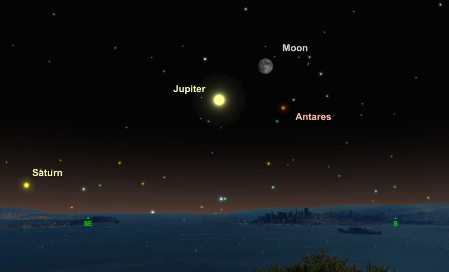 Jupiter, the moon, and the red star Antares will form a celestial triangle on June 15.
