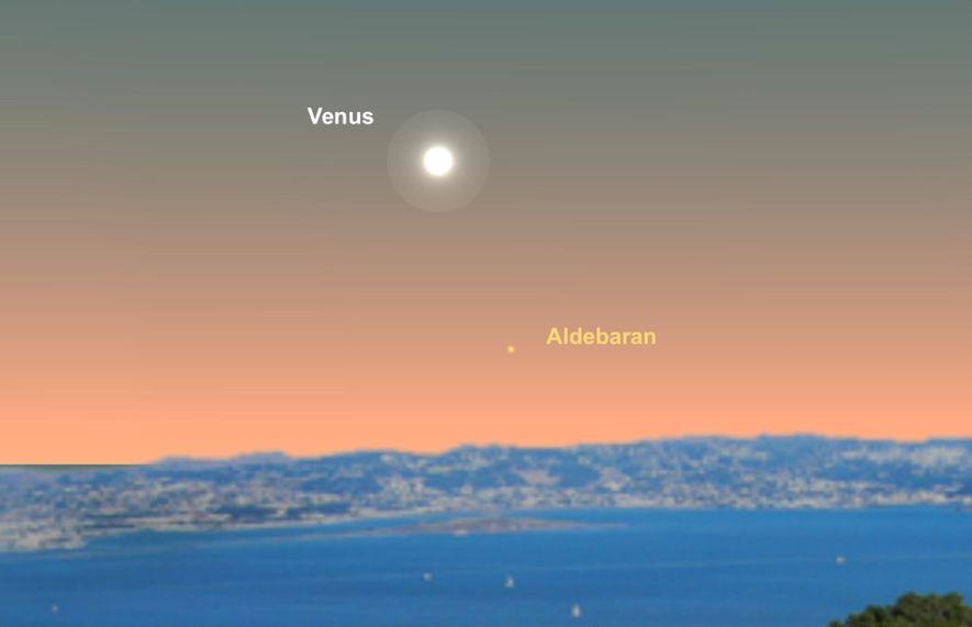 Look for Venus near the star Aldebaran on June 16.