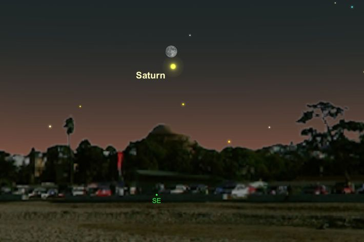 Saturn and the moon will hang near the horizon on June 27.