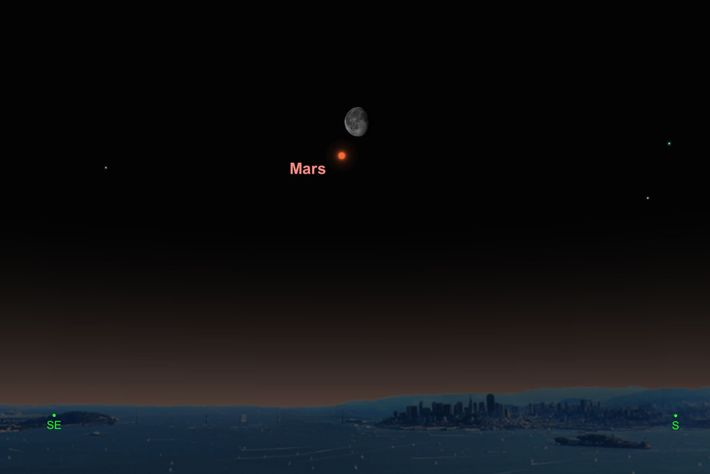 The red planet will snuggle close to the moon on June 3.