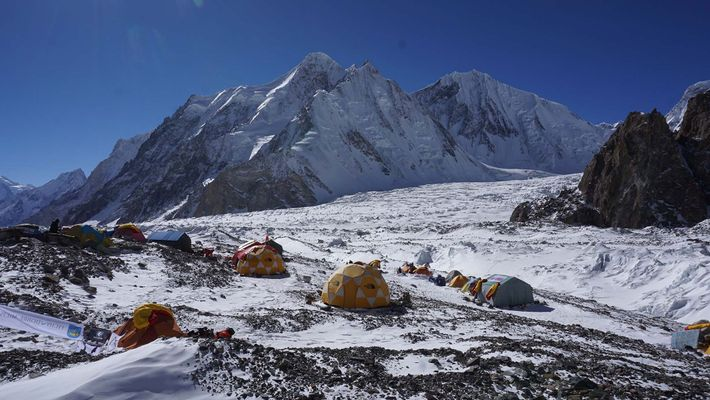The Polish team established their base camp on the Godwin-Austen Glacier, which at 5,000 meters (16,400 ...