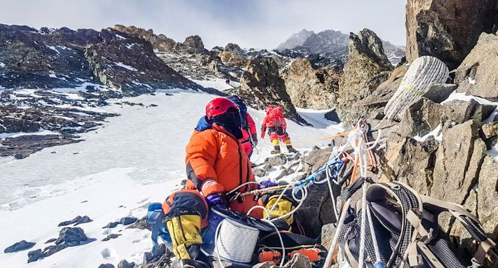 Txikon's team was able to set up Camp 2 at 22,000 feet after just two days ...