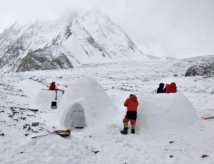 Txikon's team built three large igloos, which stay 10 to 15 degrees warmer than winter tents, ...