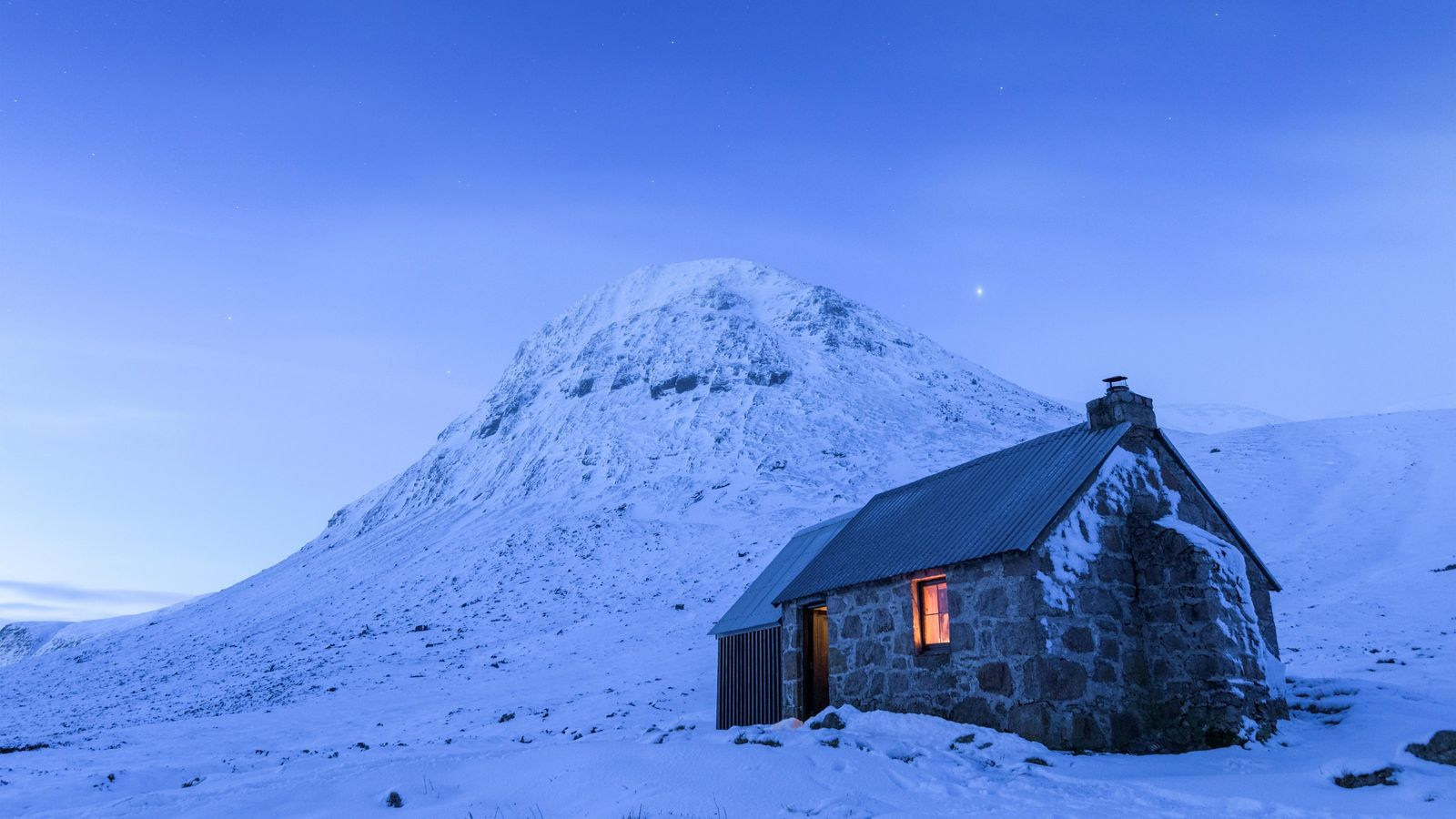 Corrour Bothy, and The Devil's Point – the mountain beyond –in the valley of the Lairig ...