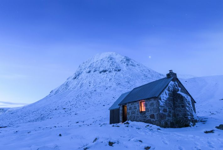 Corrour Bothy, and The Devil's Point – the mountain beyond – in the valley of the Lairig ...