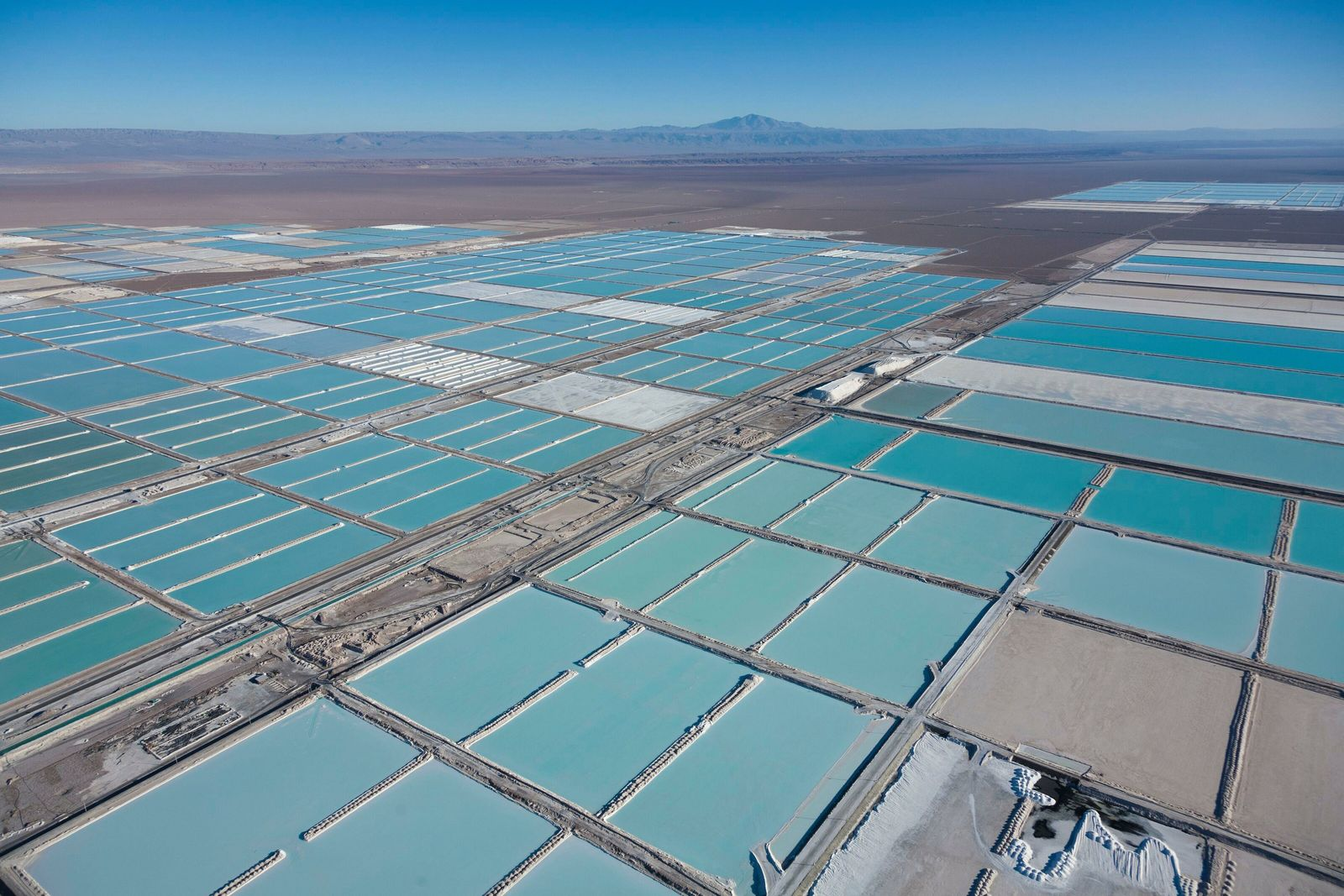 The Atacama Salar, in South America, is home to the world's largest lithium deposit. These are the evaporation ...
