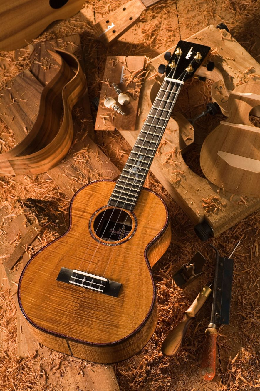 Newly created Kamaka ukuleles can be seen during a tour of the family-run factory in Honolulu, ...
