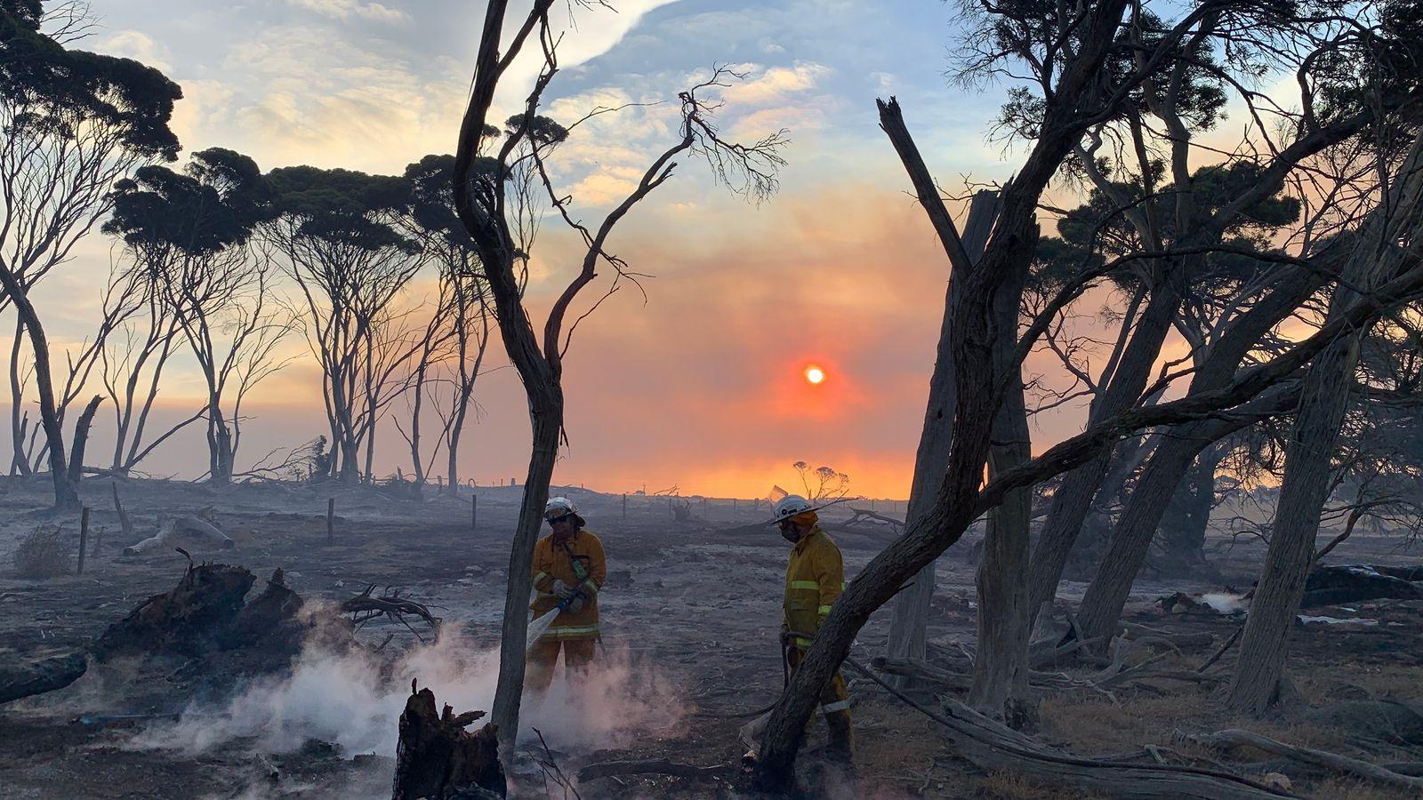 Kangaroo Island volunteer firefighter Jen Child took this photograph of fellow crew members after ...