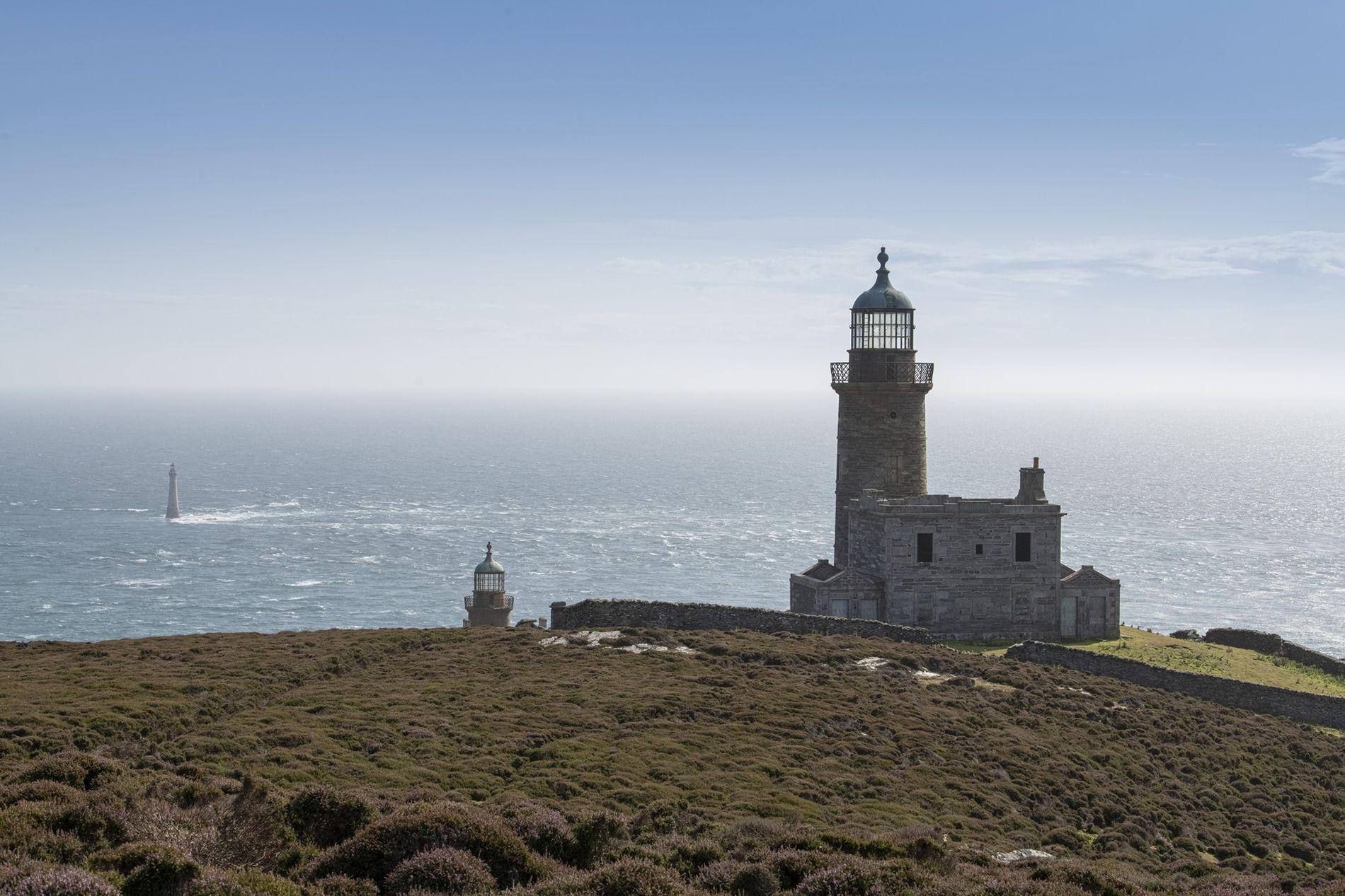 Lighthouses on the Calf of Man, a small island off the coast of the main island. ...