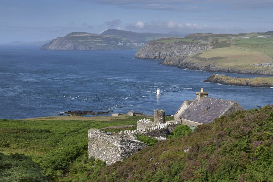 Looking back to the Isle of Man from the Calf, towards Port Erin and Bradda – ...