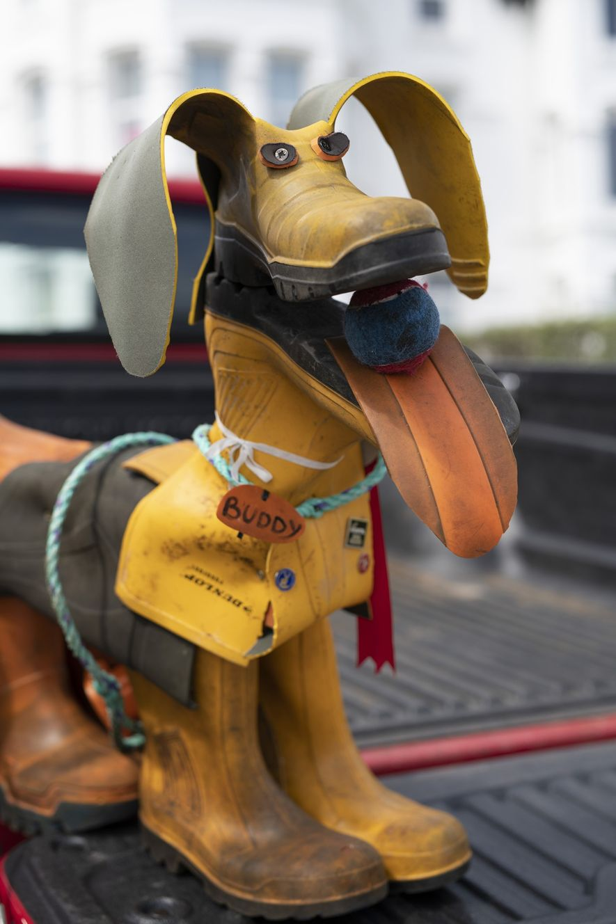 'Buddy', the Beach Buddies' mascot, was created from old boots and plastic waste and is a ...