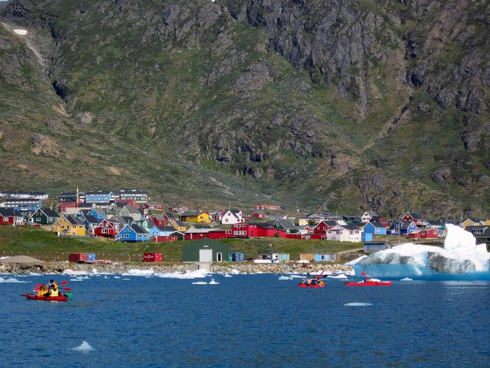Characterised by its pretty, bold-coloured houses, Narsaq is best discovered by kayak, with the dramatic mountainscape ...