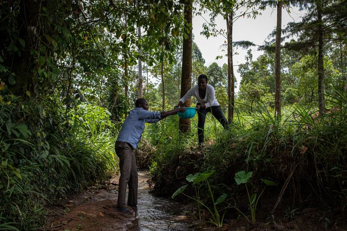 Vincent Olang' and Violet Wachiya fetch water from a small river near their house. They've tried ...
