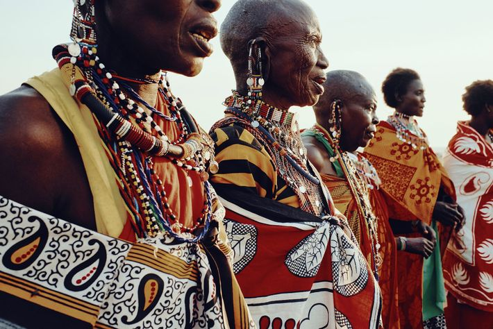 Maasai women sing in the village of Olsere, Naboisho Conservancy.