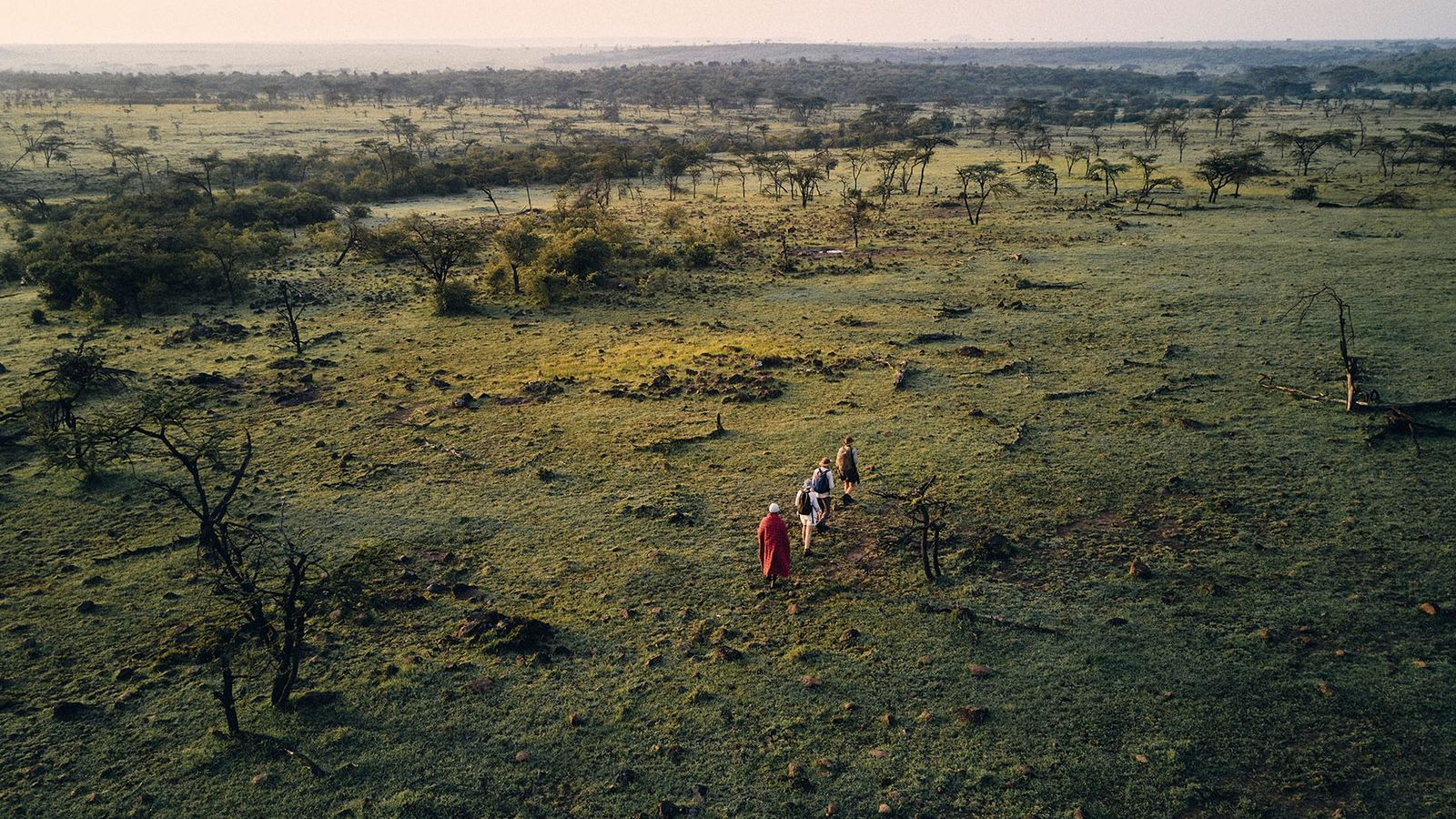 A walking safari in Naboisho Conservancy, north of Maasai Mara National Reserve.