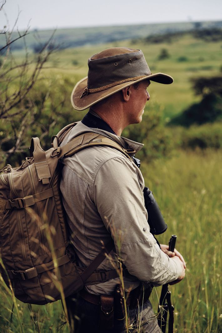 Guide  Roelof Schutte leads a walking safari in the Mara North Conservancy.