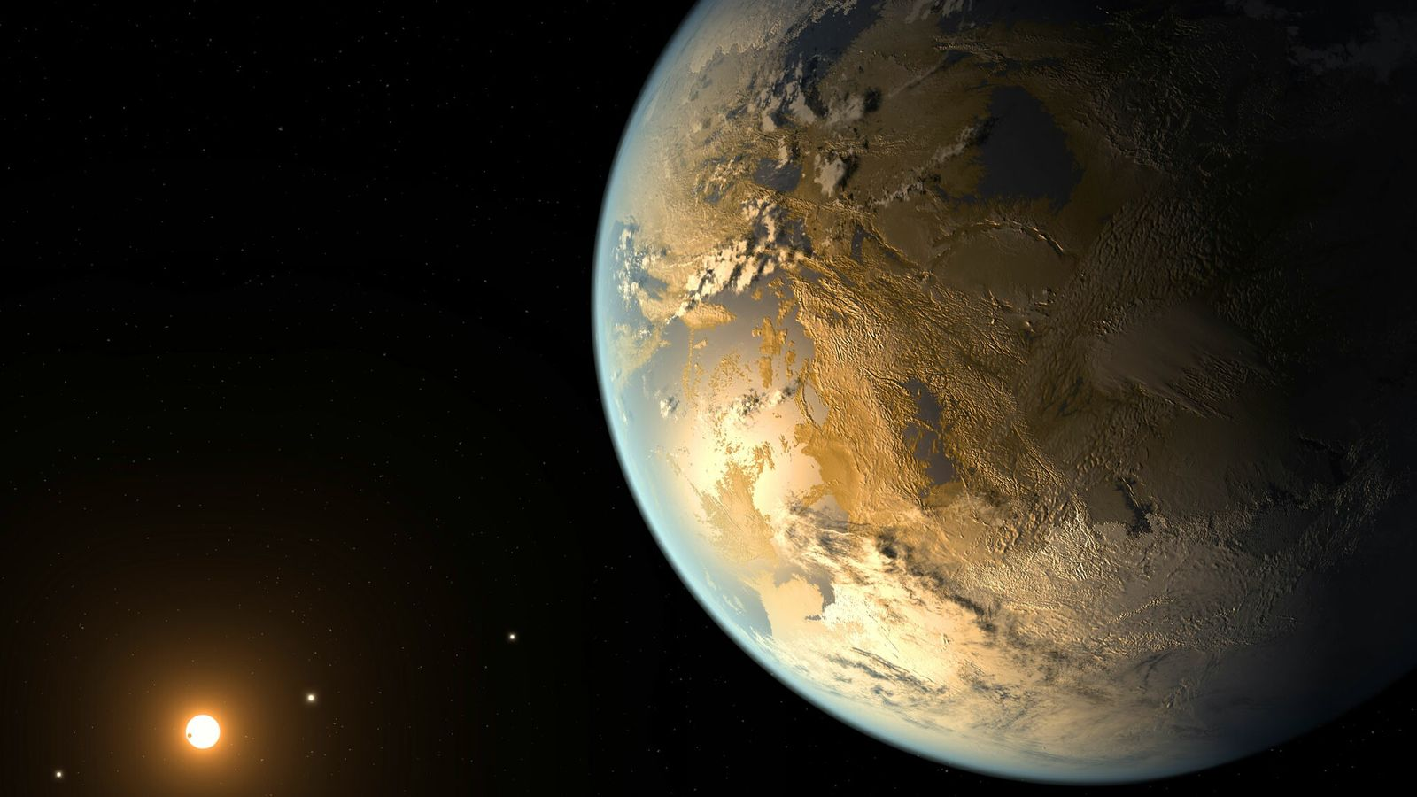 This artist's concept depicts Kepler-186f, the first validated Earth-size planet to orbit a distant star in ...