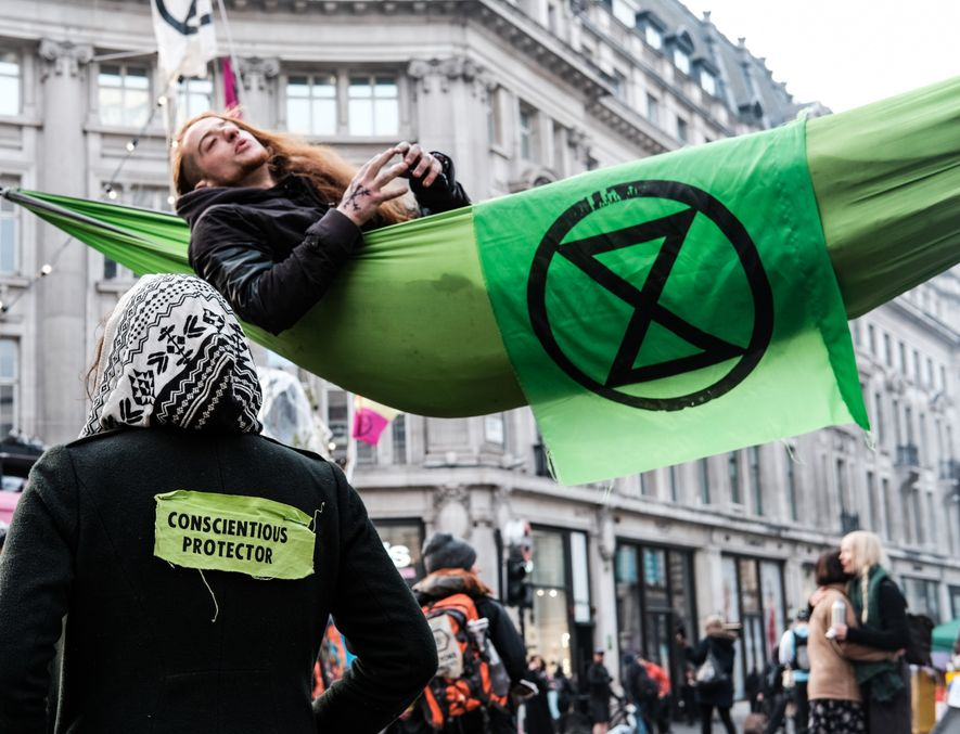Extinction Rebellion activists in Oxford Circus, London.