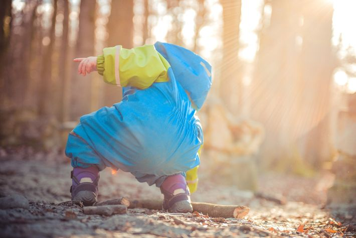 A child bends down to pick up a stick in woodland. Behaviours of children with 'found' ...