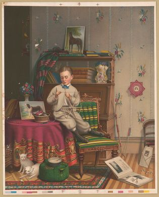 'Making the Kite,' a lithograph of an 1869 painting, shows a young American boy constructing a hexagonal ...