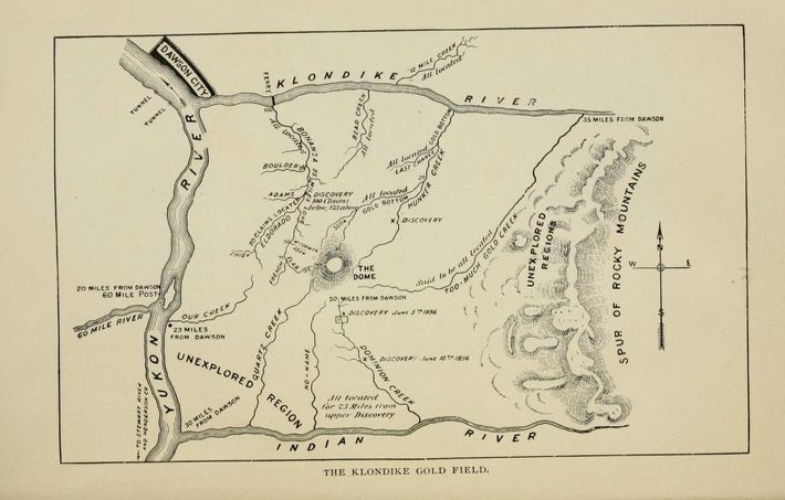A prospectors' map, published in a guide for Klondikers, c. 1898.