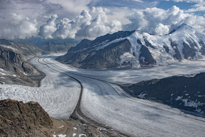 Konkordiaplatz is part of the Swiss Aletsch glacier system, which is the longest in the Alps, ...