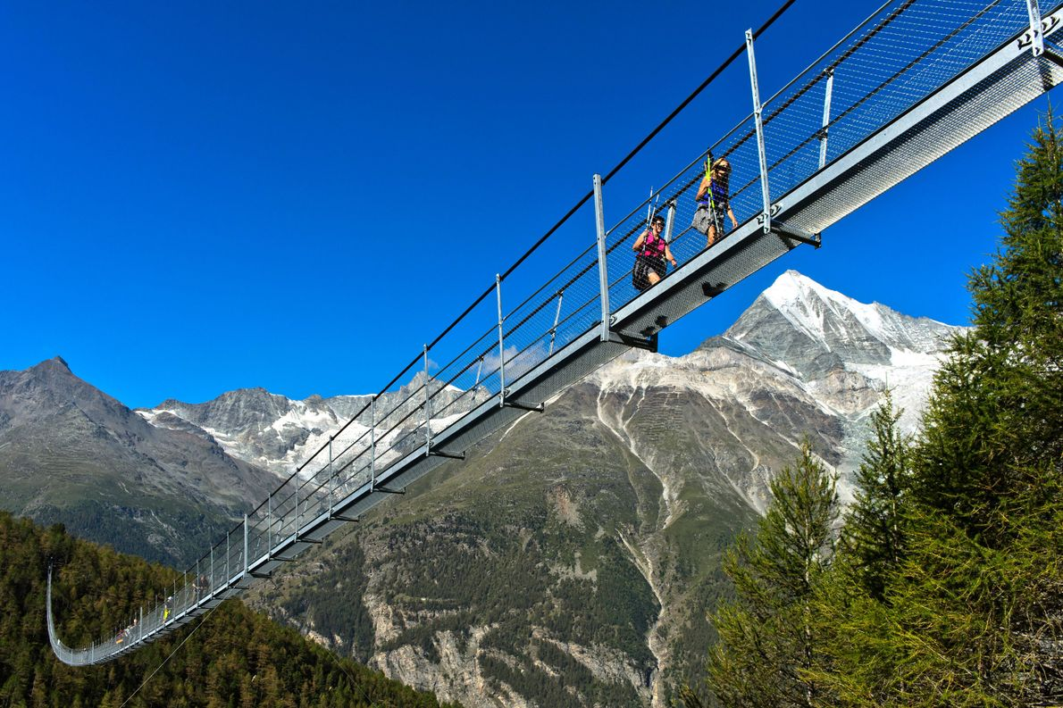 At 1,620 feet long, the Charles Kuonen Suspension Bridge in Zermatt is the longest suspension footbridge ...