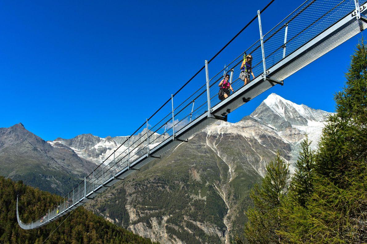 At 1,620 feet long, the Charles Kuonen Suspension Bridge in Zermatt is the longest suspension footbridge ...