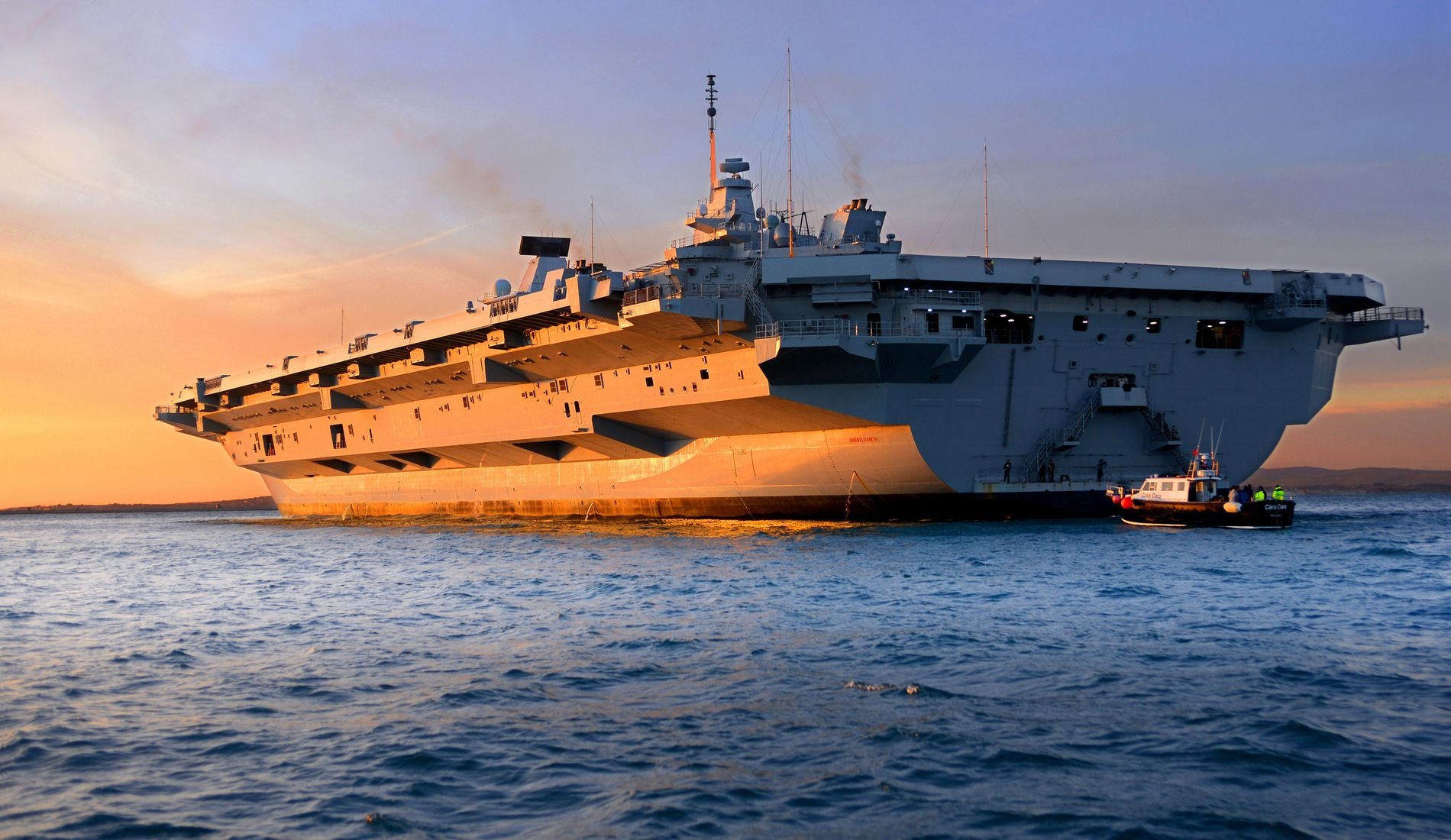 A rear view of the HMS Queen Elizabeth as it arrives into Portland, Dorset, in 2017. ...