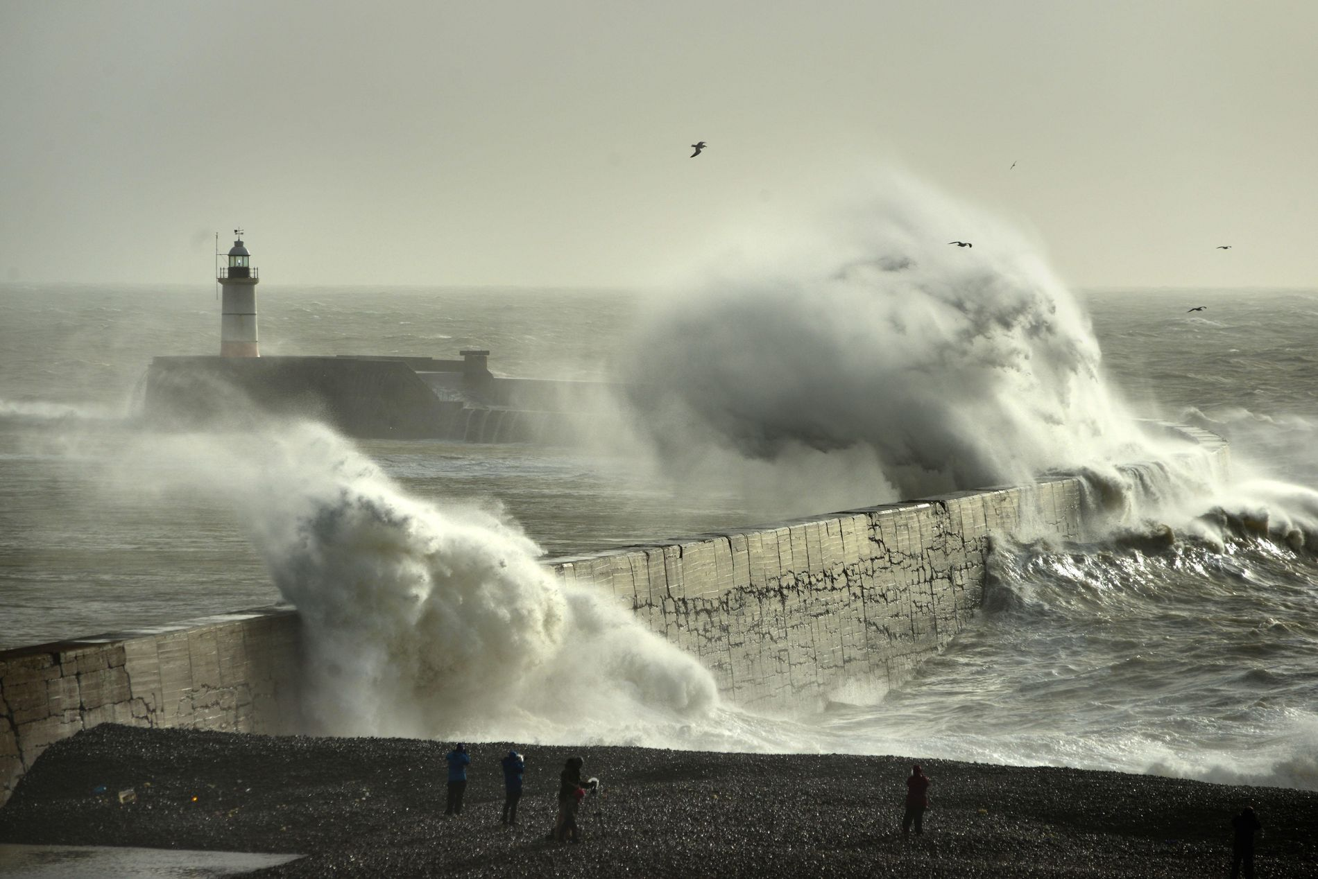 Storm Eleanor batters Newhaven, January 2018, with 100 mph windstorms generating huge swells and cutting power ...