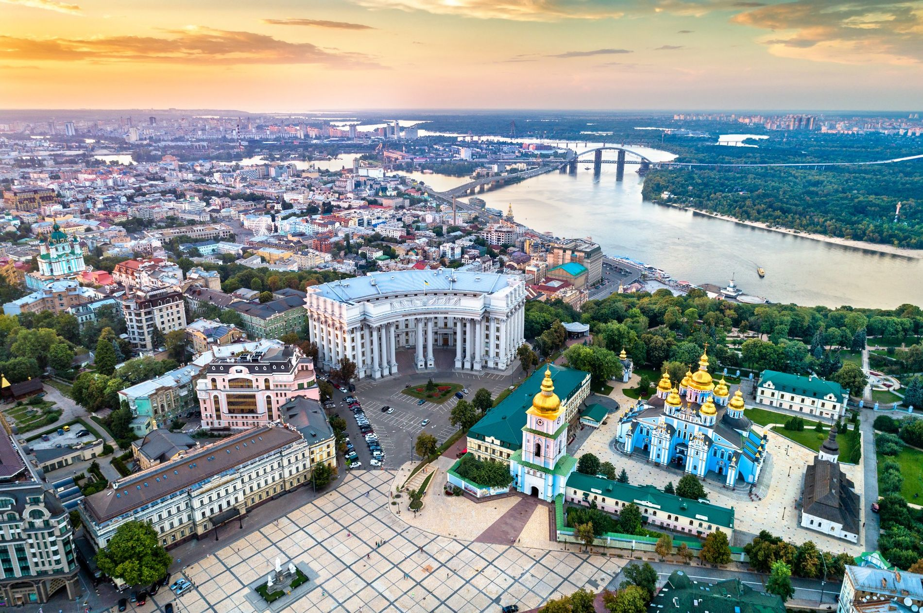 Kyiv, Ukraine, holds golden-domed churches and the meandering Dnieper River.