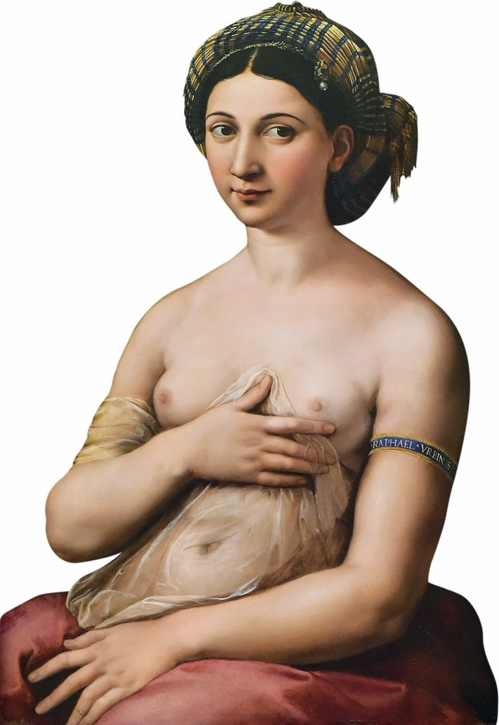 """La Fornarina"" (""The Baker's Daughter""), by Raphael, oil on board, 1518-19. Barberini Palace, Rome"