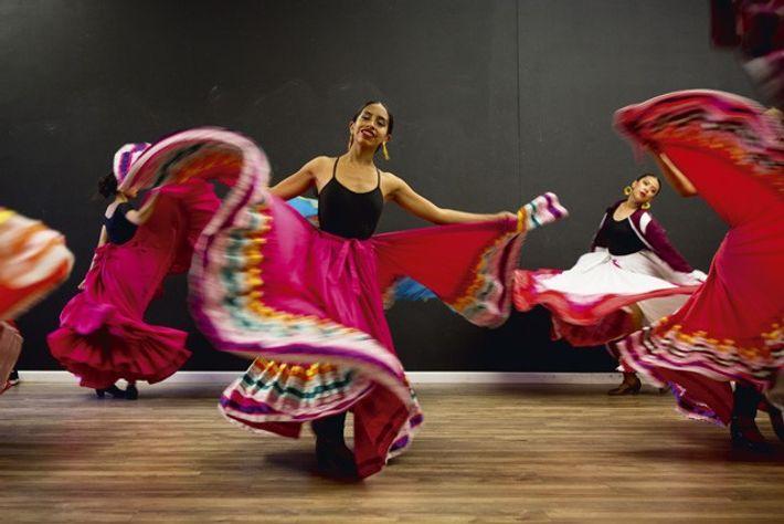 Folklórico dancers ahead of a dress rehearsal in East Los Angeles
