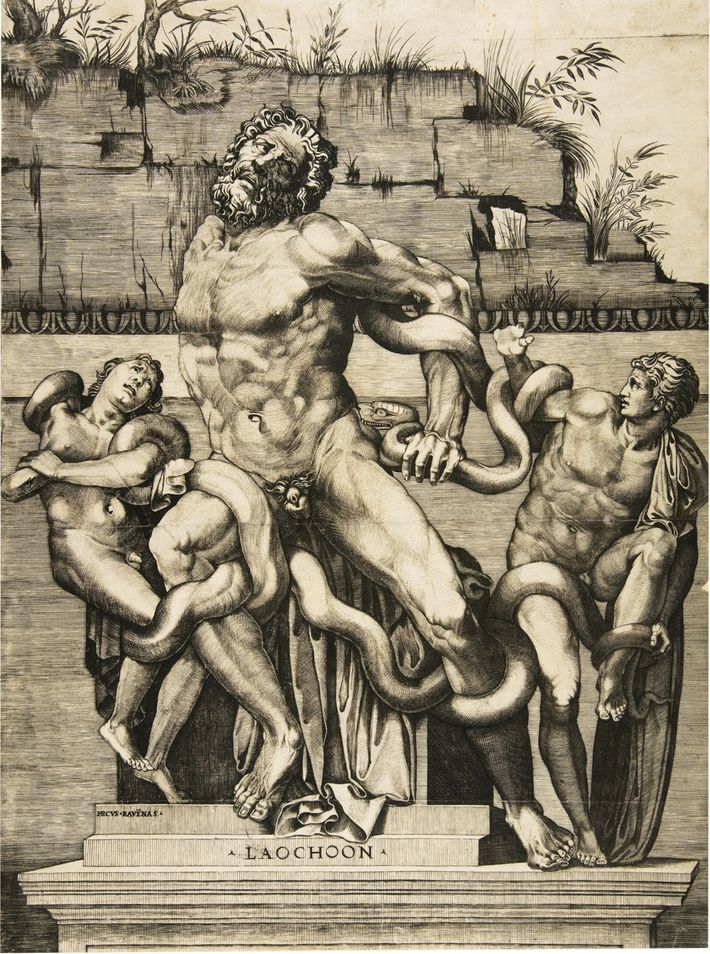 Laocoon Engraving by Marco Dente