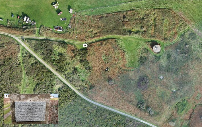 Aerial photogrammetry of the Sylt camp taken in 2017 reveal how little of the camp remains ...