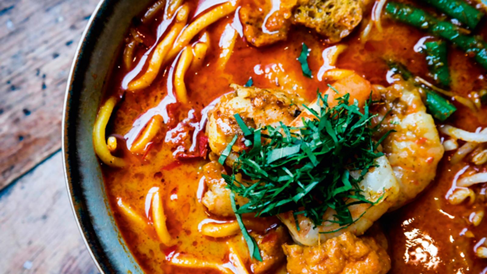 A bowl of vibrant laksa