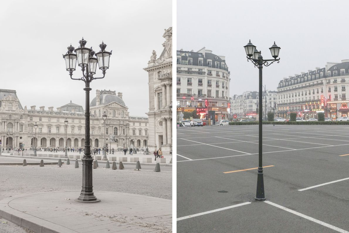 Tianducheng (right) recreates subtle details of the City of Light (left).