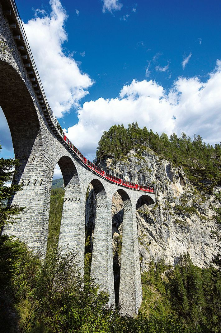 Spanning the Landwasser Valley at 213ft high and 136 metres long, the iconic Landwasser Viaduct is the ...