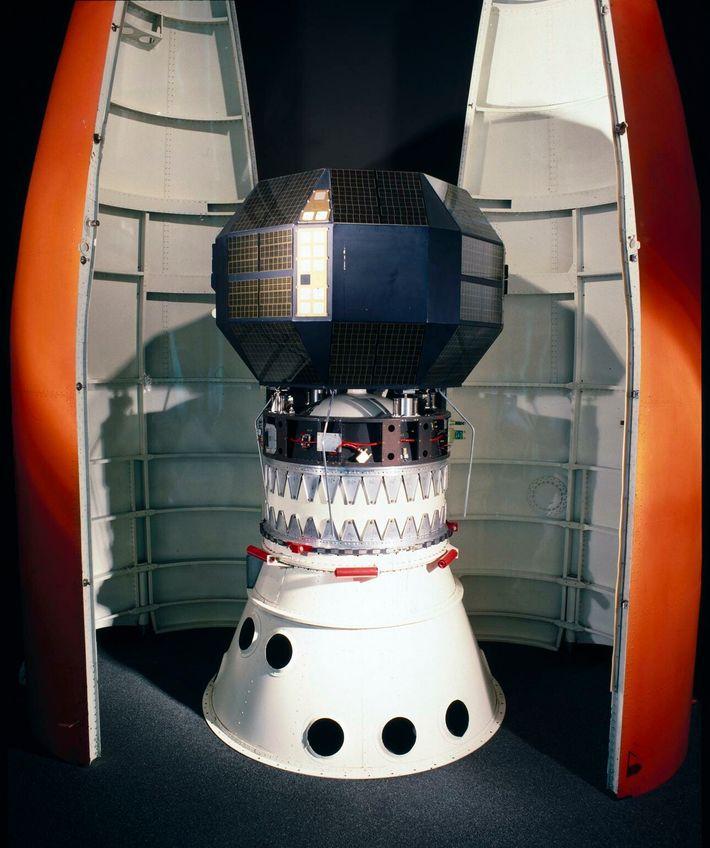 Prospero, shown inside the split 'lipstick' third-stage launch cone of the Black Arrow rocket.