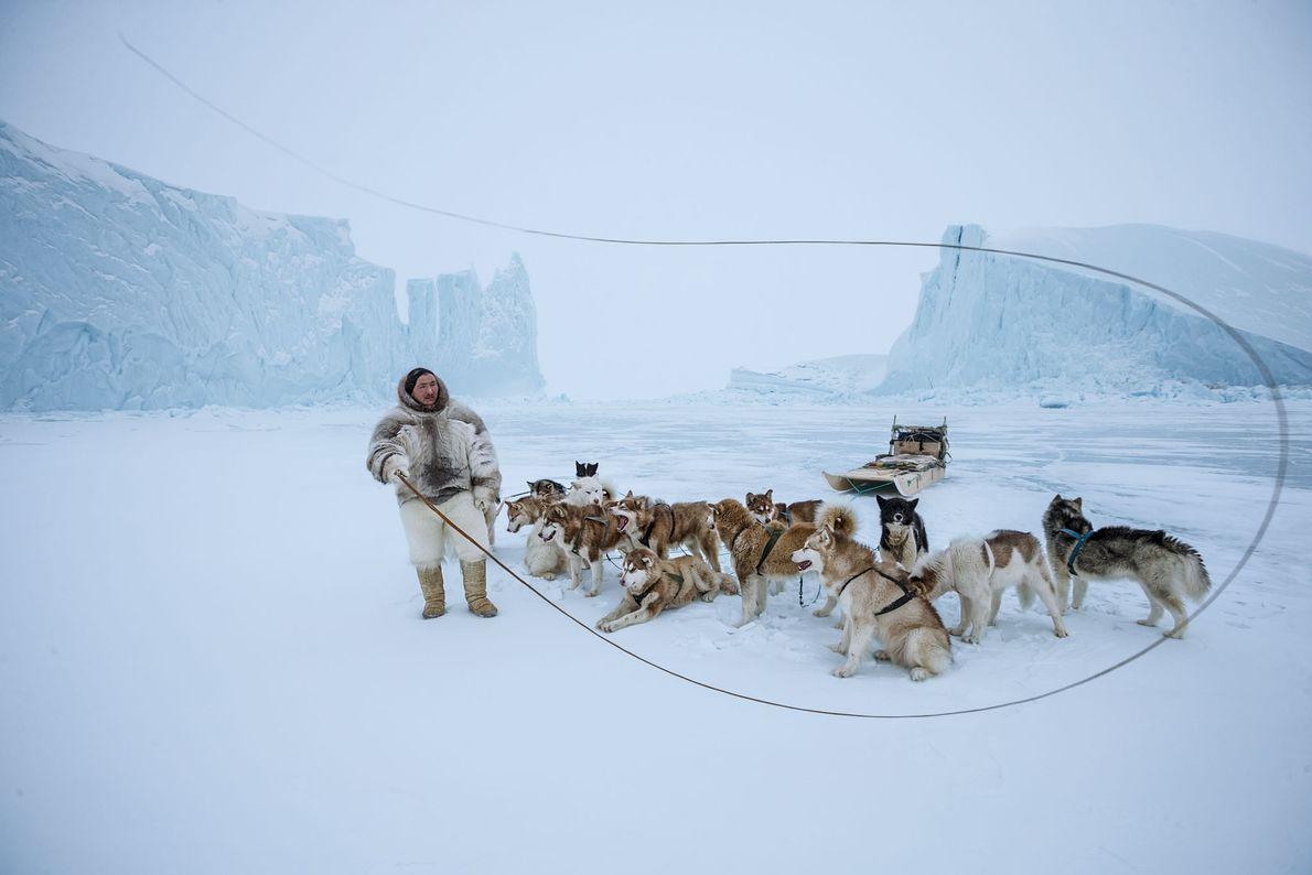 Trousers made of polar bear fur identify Naimanngitsoq Kristiansen, an Inuit man from Qaanaaq in northwestern ...