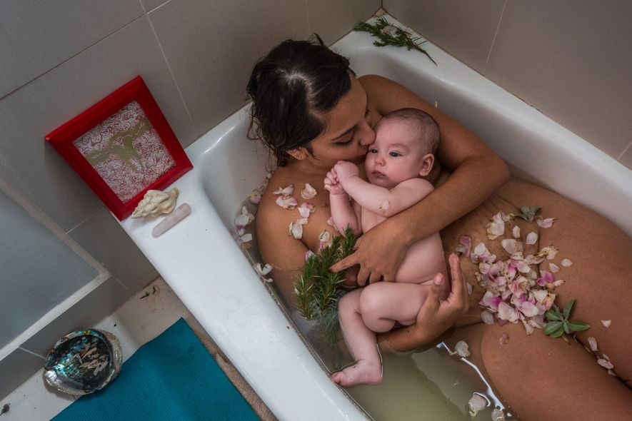 Laura Sermeño and her baby boy celebrate the end of her 'cuarentena' or quarantine. The tradition, ...