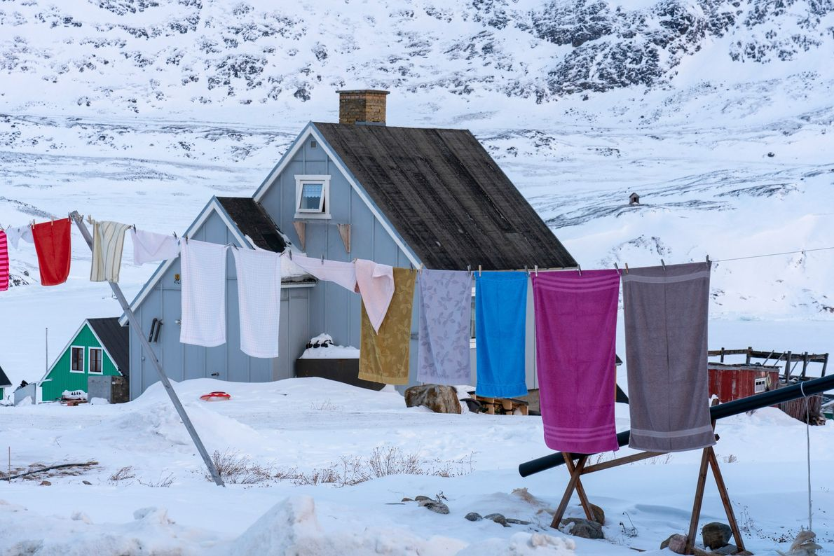 Laundry hangs near a house in Qasigiannguit, West Greenland.