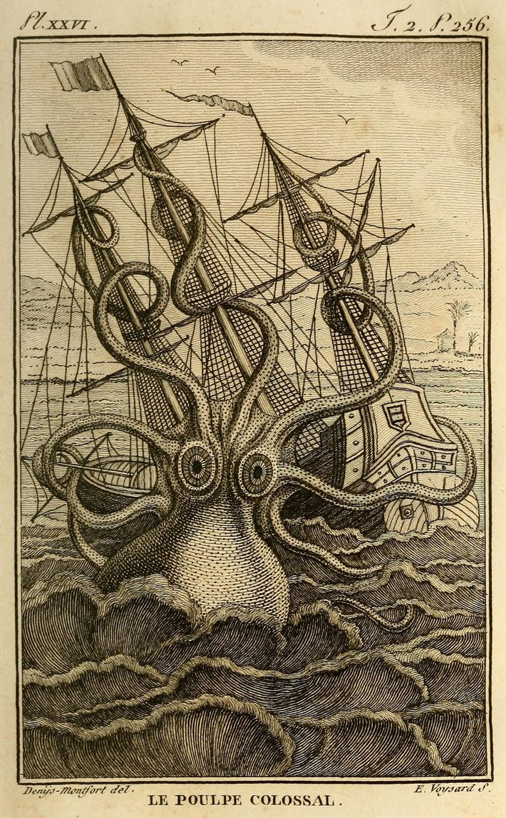 An 1801 drawing by Pierre Denys de Montfort envisions a colossal octopus that reportedly attacked a group ...