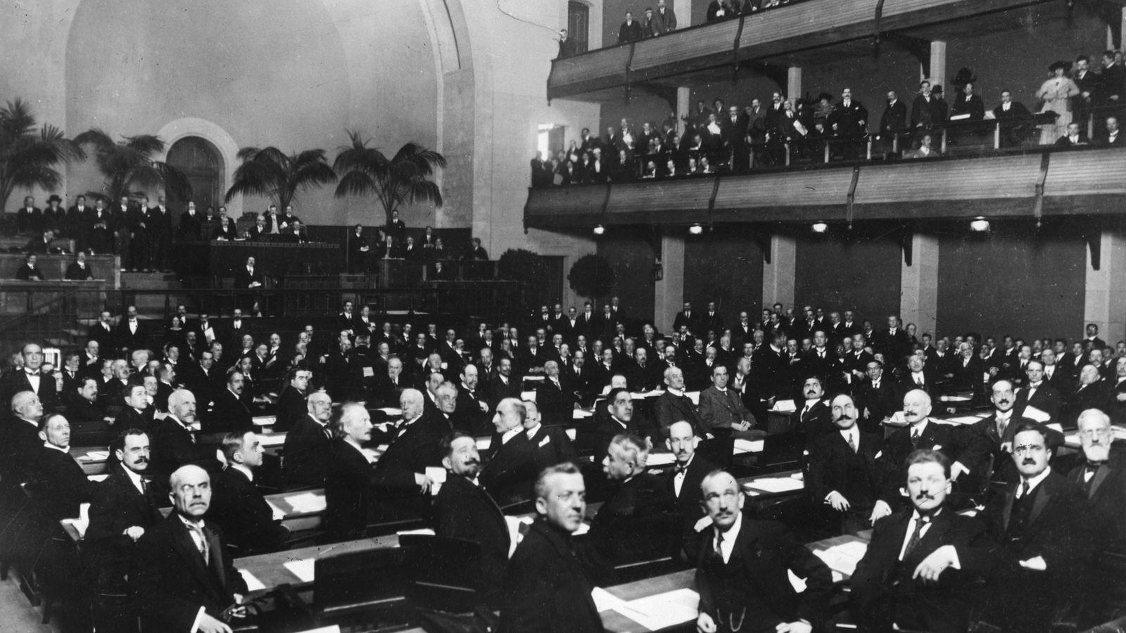 Members of the League of Nations convene in Geneva, Switzerland in 1920.