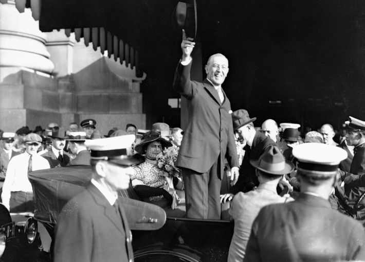 President Woodrow Wilson addresses a crowd in St. Louis, Missouri while on a speaking tour to ...