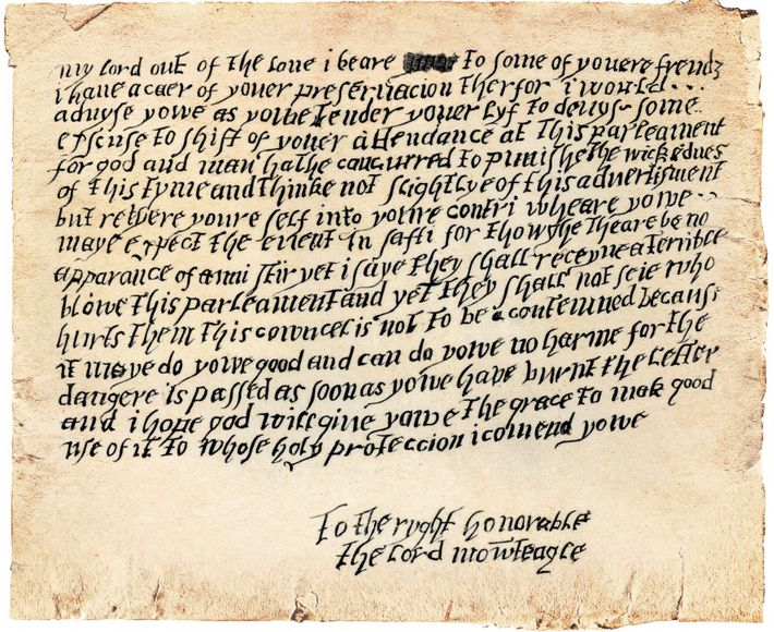 Who wrote these hasty lines to Catholic peer Lord Monteagle, warning him of the plot? The ...