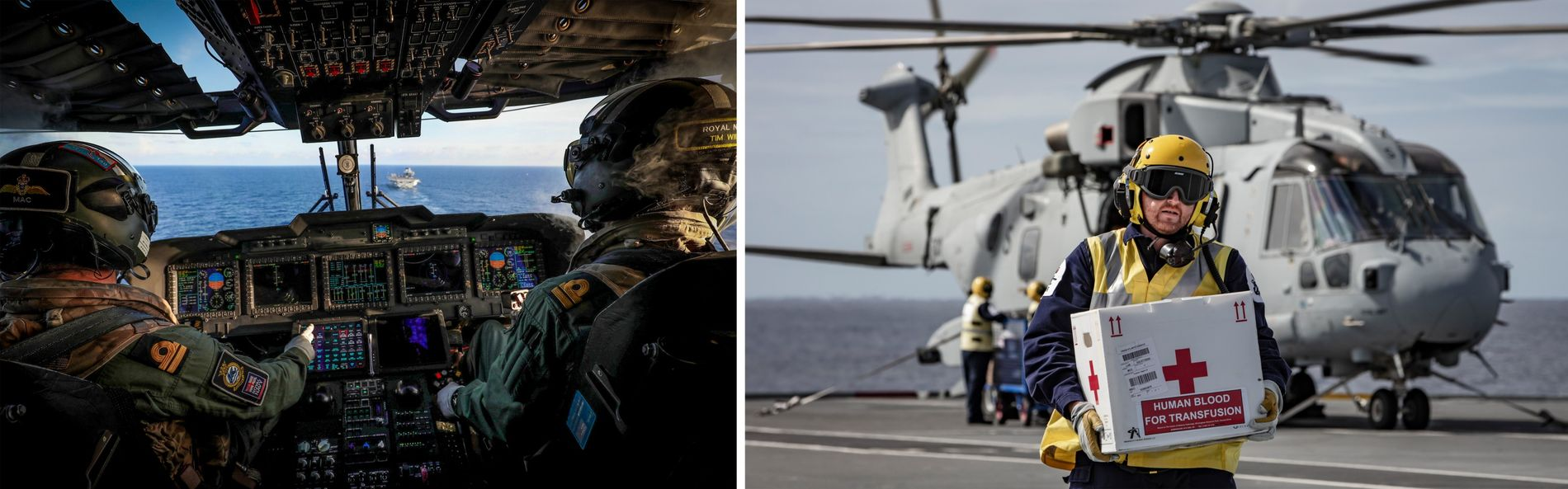 A Merlin Mk2 helicopter approaches the aircraft carrier (left) while a delivery of blood for transfusion ...