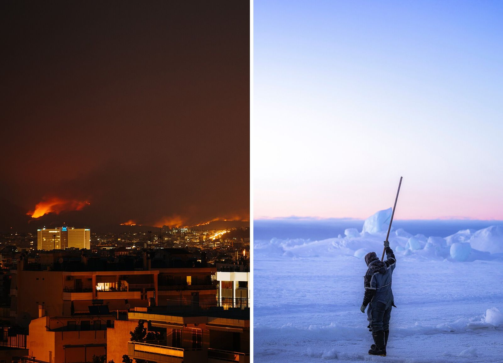 Left: In August 2021 over 500 wildfires broke out across Greece, including this one near Athens, which ...